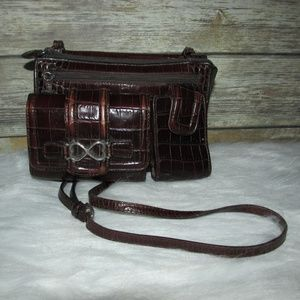 Vintage Brighton Croc Brown Black Organizer Purse